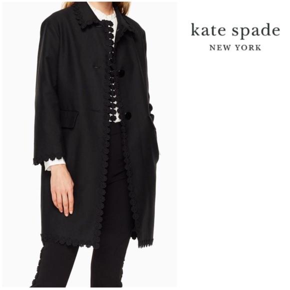 KATE SPADE NY Floral Lace Trim Coat, Black
